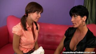 Adorable Teen Babysitter's First Threesome
